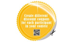 Create different discount coupons for each participant in your contest