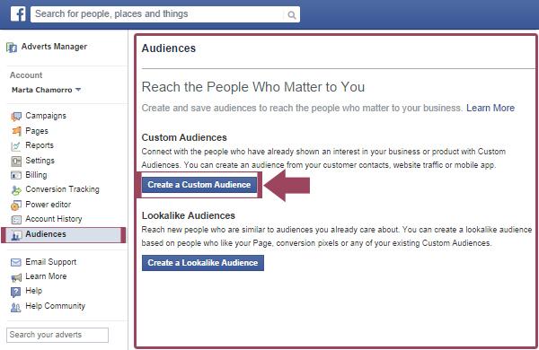 Facebook Ads: Create a custom audience