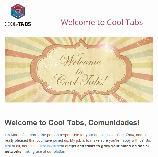 Email welcoming to new users from Cool Tabs