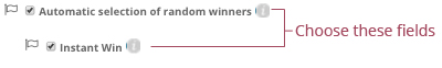 •Automatic random selection of winners + Instant Win