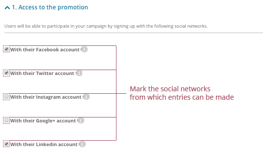 oMark the social networks from which entries can be made