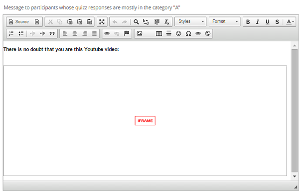 Custom message depending on response categories in the questionnaire