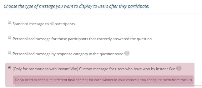 Instant Win Custom Message