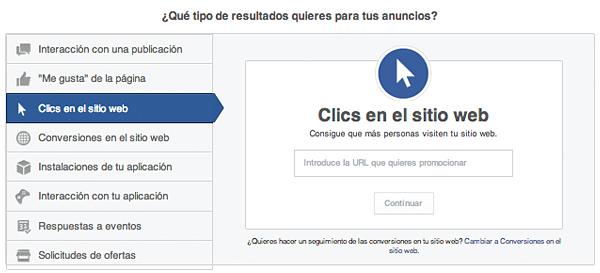 Facebook Ads: Clics en el sitio web