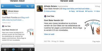 Twitter Cards en versión móvil y en versión escritorio