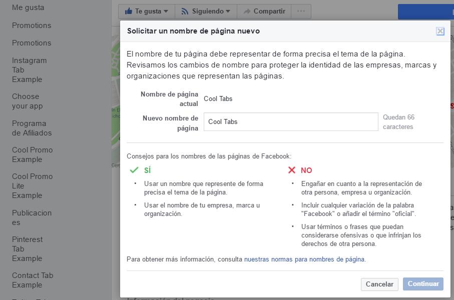 Cambiar de nombre una fan page de Facebook