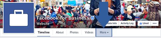 Opción Más del menú de una página de Facebook para acceder a las apps