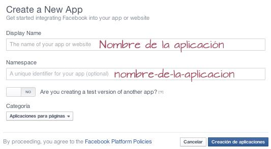 Crear nueva aplicación
