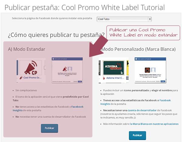 Publica tu Cool Promo White Label en modo estándar