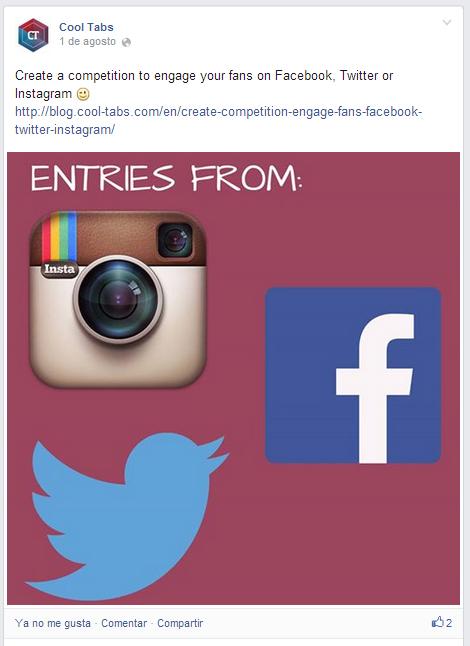 Compartir foto en Facebook, incluyendo un enlace