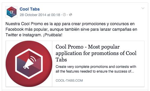 Post en Facebook sobre producto