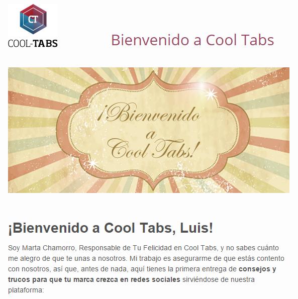 Email de bienvenida de Cool Tabs