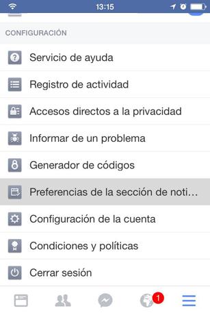 Preferencias de la sección de noticias: Acceso desde la aplicación móvil