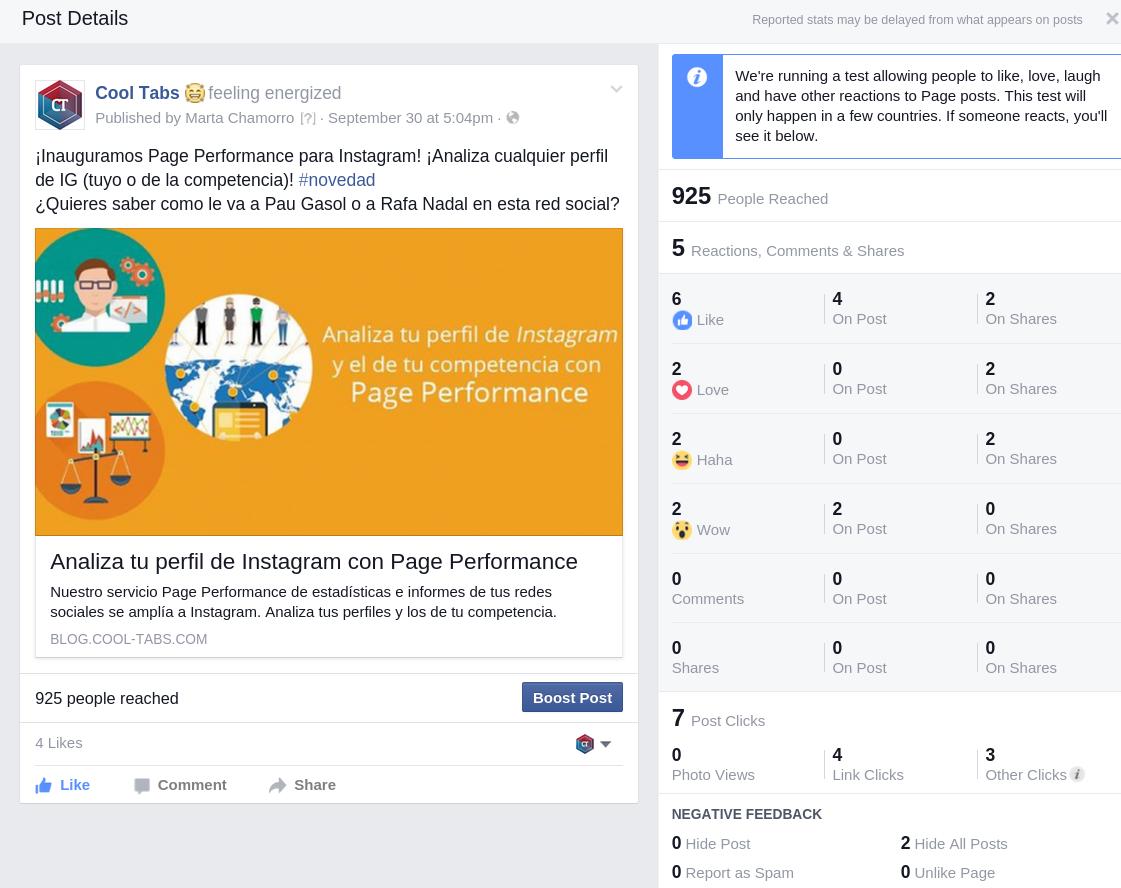Recogida de 'Reactions' en Facebook Insights