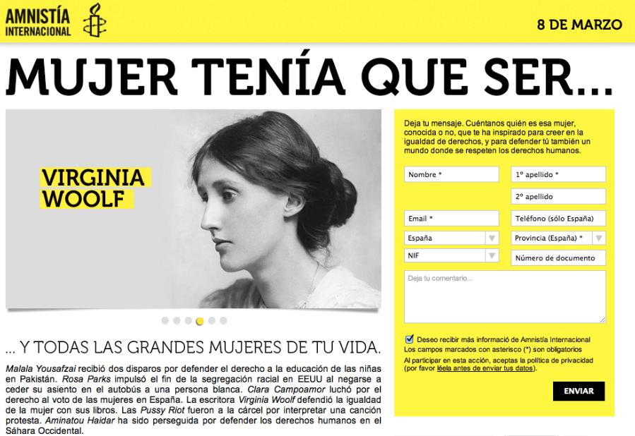 día de la mujer: campaña amnistía internacional