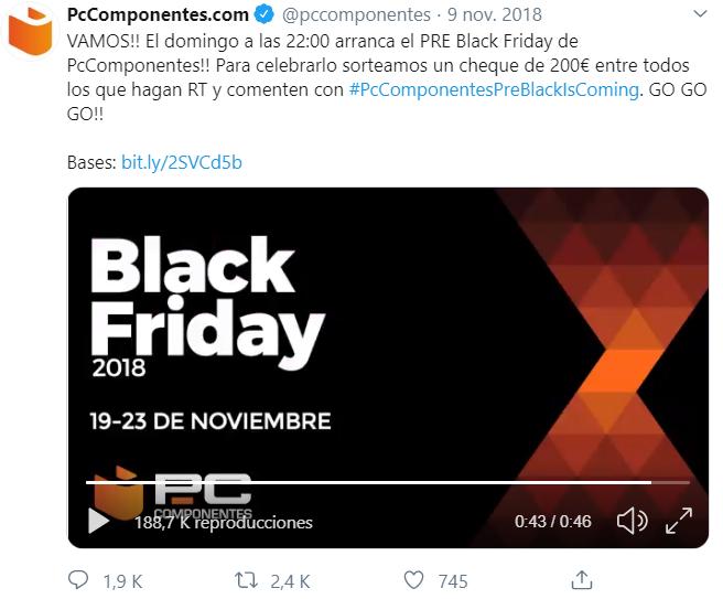 sorteo Black Friday PCComponentes