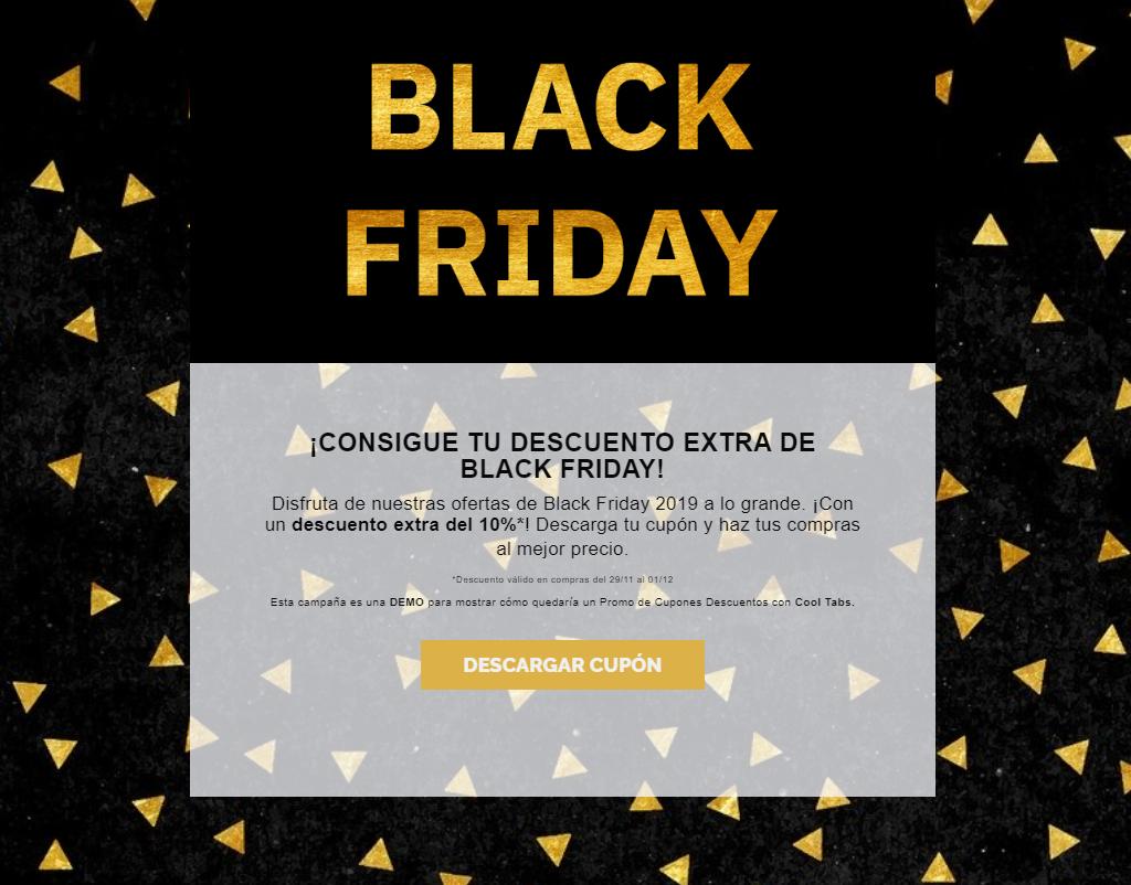 campaña con códigos descuento black friday