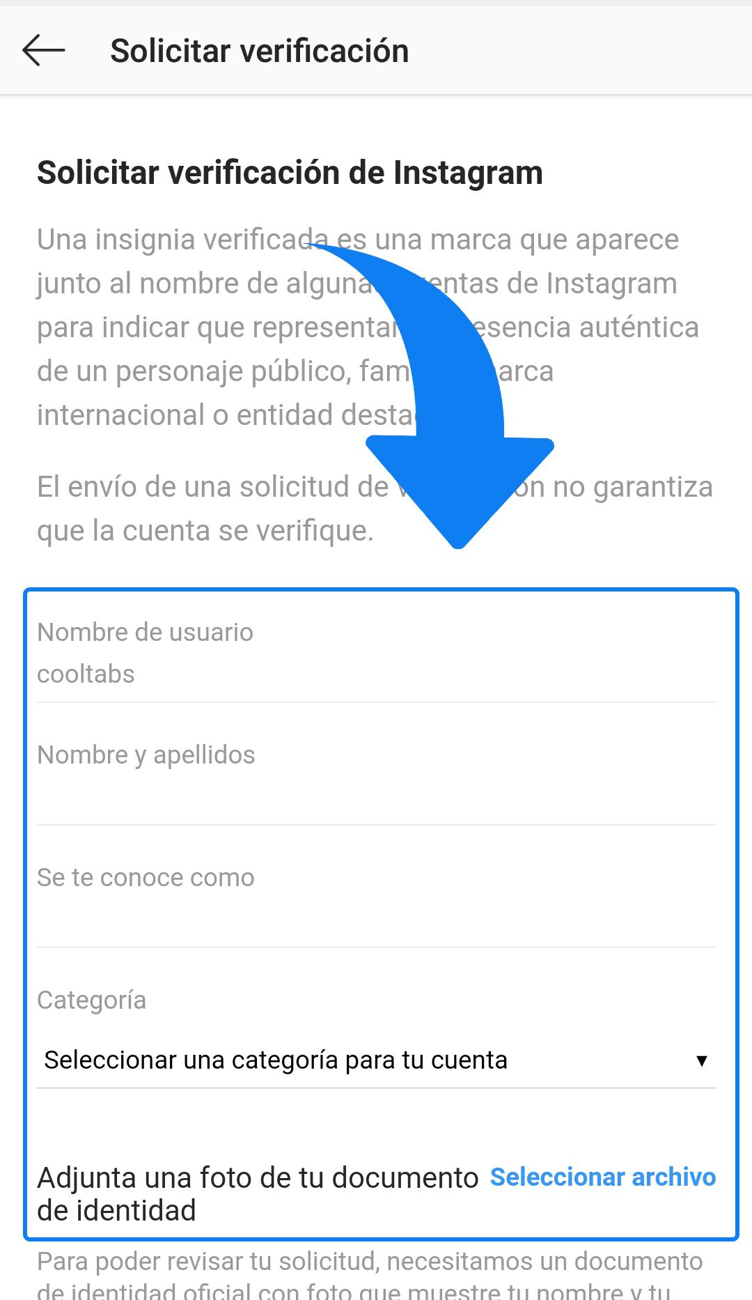Verificar cuenta Instagram